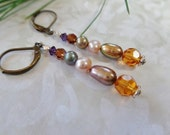 Sparkle Bronze Pearl And Amber Swarovski Crystal Earrings