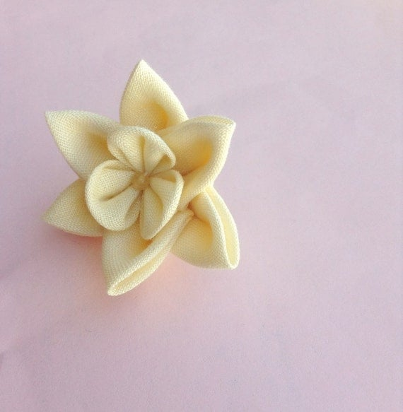 Lapel Flower Pin: Kanzashi Daffodil Includes Shipping to US