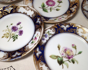 Antique Plate Set Cobalt Blue Gold Stunning Floral Early Qty 3 Tea Table