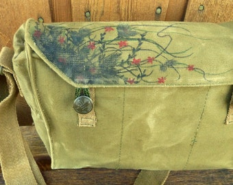 Floral Abstract Vintage Czech Canvas Military Messenger Bag Purse - Hand Painted
