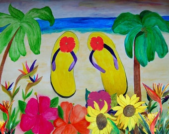 Flowers and flip flops art canvas wrap.