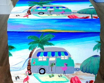 Air stream camper by the beach design cube ottoman from my art