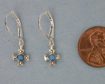 Tiny Sterling Silver and Turquoise Cross Earrings