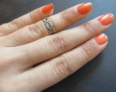 Vine Midi Ring Leaf Knuckle Wrap Silver Plated Brass Finger Cuff