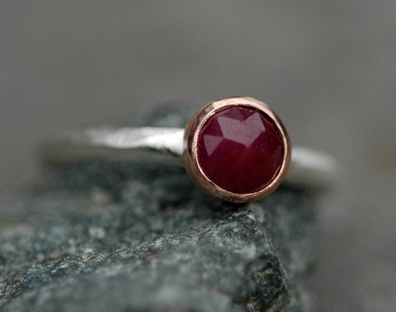 ON SALE- Ready to Ship Rose Cut Ruby Recycled Rose Gold and Sterling Silver Ring- Size 8