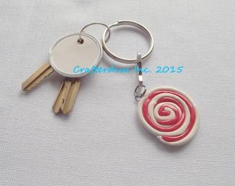Clay Key Chain, Swirl Key Chain, Polymer Clay Key Chain, Handcrafted Key Chain, Key Chain, Purse Clip