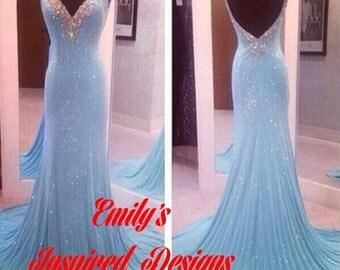 Blue Beaded Prom Gown Trumpet Mermaid Look