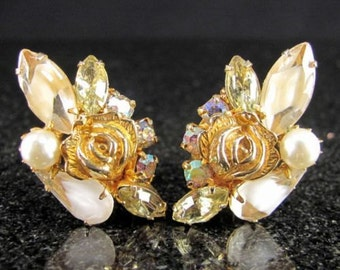Vintage GOLDEN ROSE GIVRE Rhinestone Earrings Faux Pearl Yellow Clip On