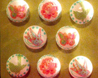 GREEN & PiNK GLiTTER - BiRDS, BUTTERFLiES, ROSES -  Hand Painted Knobs - Set of 8 - Great for Girl's Room, Nursery