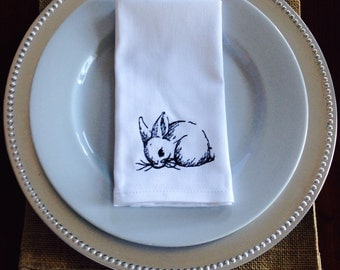 Embroidered Rabbit Sketch Napkins, set of 4