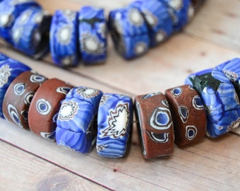 African Handmade Recycled Glass Beads Millefiori Heishi Shaped Trade Beads Rough Surface  Blue or Red