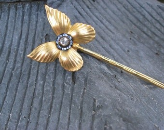 Golden Butterfly Bobby Pin with Blue and Clear Swarovski Crystals