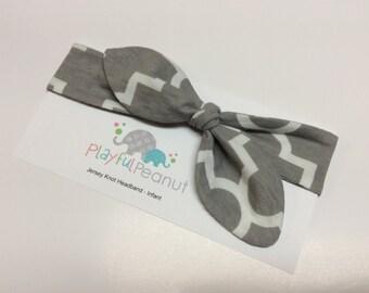 SALE Knot Headband - Tie Knot Headband - Jersey Knit - Baby Headband - Toddler Head Wrap - Quatrefoil in Grey