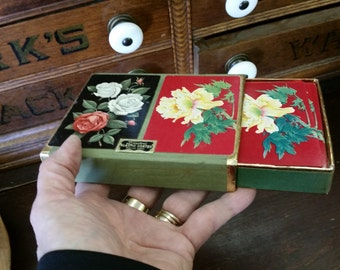 SALE - Vintage Shabby Roses Duratone Floral Playing Cards from Rustysecrets