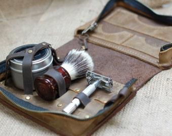 Shaving Set - Leather Grooming Gift for Men - Wet Shave Case - Leather Toiletry Kit Bag, Shaving Kit, Wet Shaving Toiletry Bag