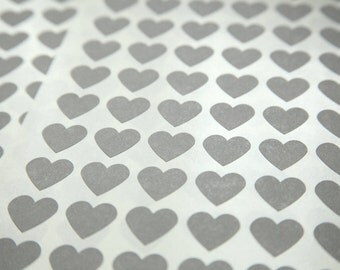 108 Gray Heart Stickers - FREE SHIPPING with other purchase