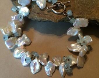 Keishi Pearls and Apatite Bracelet