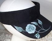 Women's Sun Sport Visor Black with a white rose