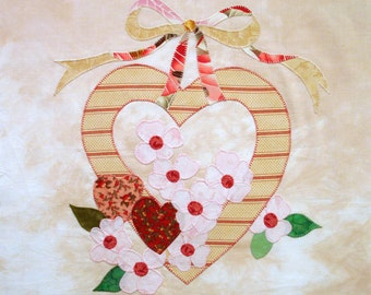 Romantic Hearts and Dogwoods Appliqued Quilt Block