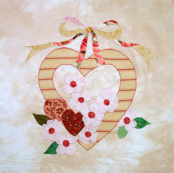 Romantic Heart Applique Quilt Block