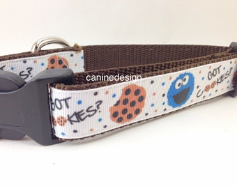 Dog Collar, Got Cookies, 1 inch wide, adjustable, quick release, metal buckle, chain, martingale, hybrid, nylon