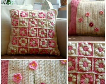 Decorative Flower Pillow - Granny Square Pillow Cover - Home Decor - Pink Pillow - Crochet Pillow Cover - Retro Pillow Case - Gift for Her