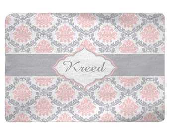 Damask Pink, Grey, White Plush Fuzzy Area Rug -Size 48x30,  96x44, 96x60-Other Colors available