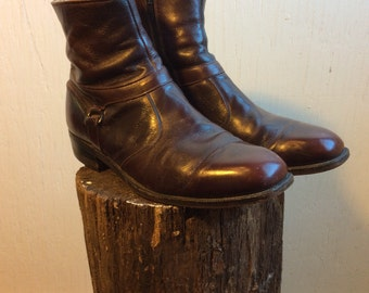 Vintage Cheery Brown Mens Leather Boots