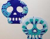2 Dia de Los Muertos Sugar Skull Style Fabric Iron On Appliqués