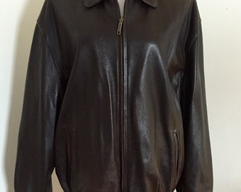 Vintage Chocolate Brown Leather Bomber Jacket