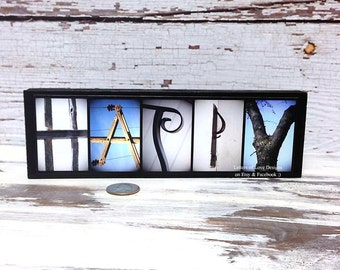 HAPPY Sign - Blue Happy Wood Sign - Birthday Gift, Present, Photo Letters, Inspirational Quote Alphabet Photography Letters of Love Designs