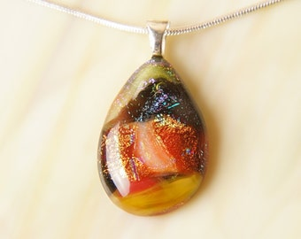 Handmade Dichroic Fused Glass and Silver Necklace with Chain
