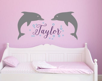 Dolphin Name Decal Set - Childrens Name Decal - Dolphin Wall Decal - Sea Ocean Friends