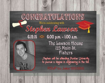 Digital Chalkboard Graduation Open House Invitation Printable ANY Color