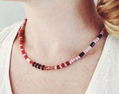 Red Pink Purple Beaded Necklace Layering Necklace Wooden Wood Necklace Short Necklace Boho Choker