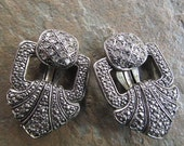 1950's Statement Clip On Earrings, Rhinestone and Faux Marcasite