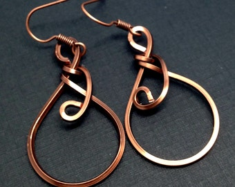 Kuchina Copper Earrings Small curved copper wire wrapped small delicate Minimalist Abstract
