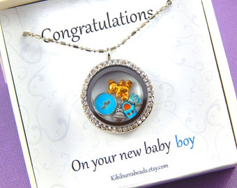 Baby Boy Silver Floating Charm  Locket, Silver Necklace, Charm Necklace Story Locket
