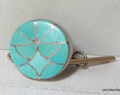 Zuni Blue Turquoise Native American Tie Tack Clip Sterling Silver