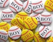 """50 Baby Shower 1"""" Pinbacks - Baseball Boy Softball Girl - Gender Reveal Party Favors"""