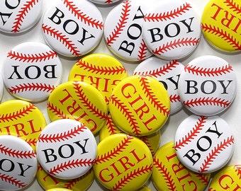 """100 Baby Shower 1"""" Pinbacks - Baseball Boy Softball Girl - Gender Reveal Party Favors"""