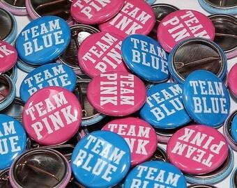 "100 Baby Shower 1"" Pinbacks - Team Pink Team Blue BOLD - Gender Reveal Party Favors"