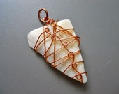 Copper Bubble Wire Wrapped Tribal Natural Mother of Pearl Iridescent Shell Pendant, Necklace Charm only