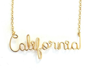 California Necklace. California State Necklace in 14k Gold Filled