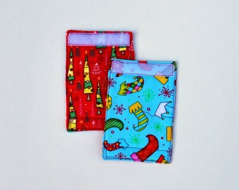 Luggage Handle Wraps set of two reversible Crazy Stockings travel gift teacher gift Quiltsy Handmade