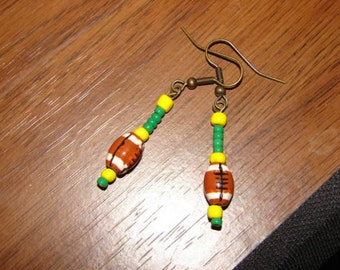 Oregon Ducks Football Themed Beaded Earrings Yellow and Green