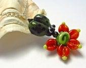 Ladybug With Flower Necklace - Handmade Lampwork Bead Art - SRA