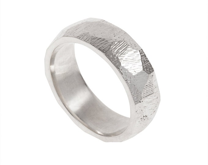 Facets Mens Wedding Band- Made to order in your size, material and dimensions