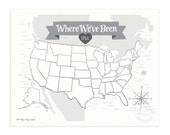 Where We've Been: USA Map, Stone Gray Illustrated Art Print