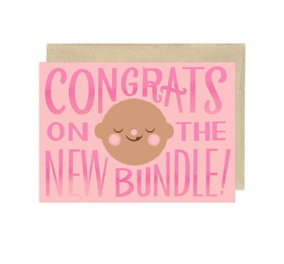 Congrats on the New Bundle, Pink, Illustrated Congrats Card
